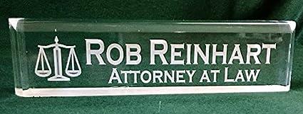Placa de nombre oficina escritorio mazo abogado placa: Amazon.es ...