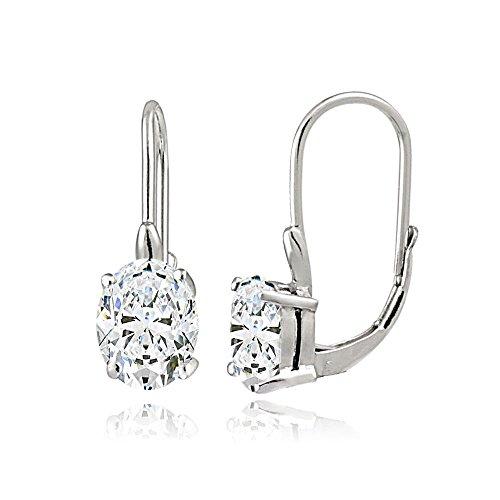 Sterling Silver Cubic Zirconia Oval Leverback Earrings ()