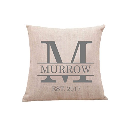 Beverly465 Throw Pillow Case Cushion Cover Monogrammed Custom Pillow Case Cotton Linen Cushion Personalized Pillow Cover for Home Sofa Decoration 18