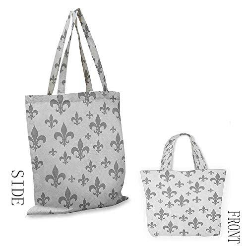 "linen shopping bag Fleur De LisEthnic Lily Pattern Classic Retro Royal Vintage European Iris Ornamental Artwork Grey18""W x ()"