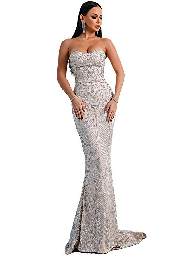 Miss ord Women Bustier Strapless Off Shoulder Glitter Bodycon Mermaid Cocktail Dress (Large, Silver) ()