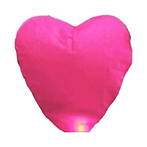 100 Pcs Assorted Color Heart Shape Chinese Paper Lanterns Sky Fire Fly Candle Lamp for Wish Wedding