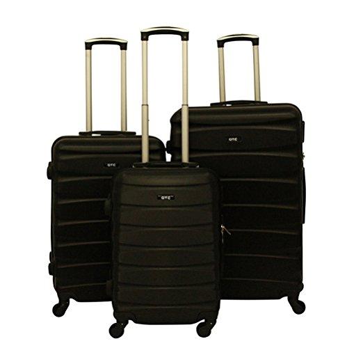 Hartschalen Reisekoffer QTC MAILAND A Trolley Case M L XL Reise Tasche Koffer (M (Handgepäck), Schwarz)