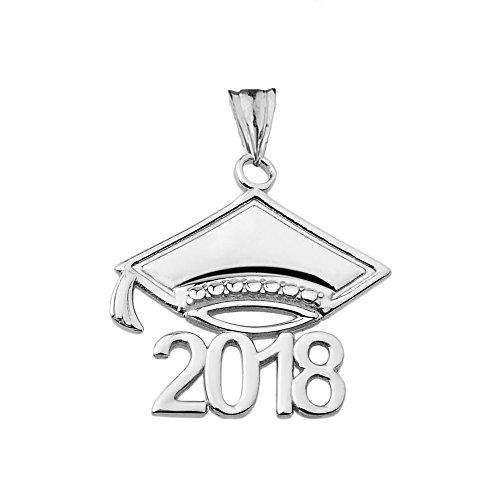 Fine Class of 2018 Graduation Cap Charm Pendant in Sterling Silver