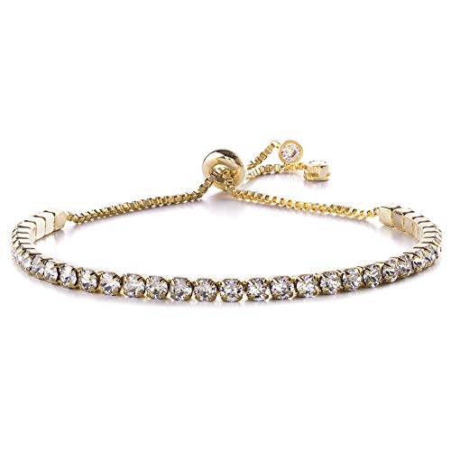 Devin Rose Adjustable Bolo Style Tennis Bracelet for Women Made with 3mm Swarovski Crystal in Yellow Gold Plated Brass (Yellow) - Gold Plated Tennis Bracelet