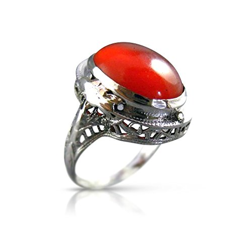 Milano Jewelers 14KT WHITE GOLD HANDCRAFTED ORANGE BROWN AGATE OPEN FILIGREE RING #25394 ()
