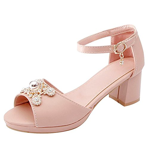 Carolbar Women's Solid Color Rhinestones Mid Heel Peep Toe Sandals Pink iKygd