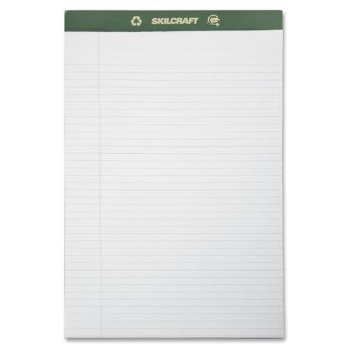 SKILCRAFT 7530-01-516-9626 100 percent Recycled Process Chlorine-Free Paper Pad, Legal Size, 8-1/2 x 14 Inch, White (Pack of 12)