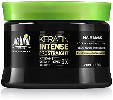 Natural Formula Keratin Intense Repair Hair Mask – Keratin Infused Straightening Mask - Sodium Chloride Free Hair Cream Mask – Deep Conditioning Treatment For Frizz Free Straightened Hair 11.8 fl.oz