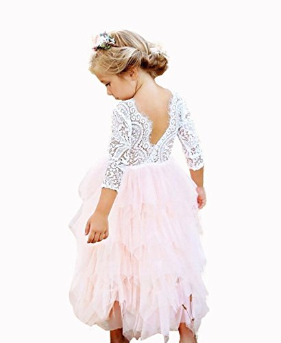 Lace Back Flower Girl Dress,Kids Cute Backless Dress Toddler Party Tulle Tutu Dresses for Baby Girls (Long lace Pink, 5-6 Years/130cm)