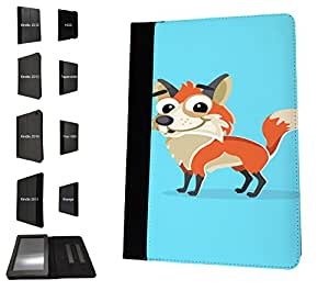 1144 - Cute Fun Fox Animal Drawing Blue Design Amazon Kindle Fire HDX 7'' 4th Generation 2014/2015 Fashion Trend TPU Leather Flip Case Protective Purse Pouch Book Style Defender Stand Cover
