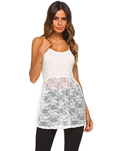 Sexyfree Women Lace Trim Bottom Tank Top Extender Vest Camisole Strappy Mini Dress,W,XXL White ()