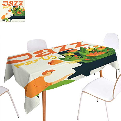 (longbuyer Dinning Tabletop Decoration Jazz Festival Vector Poster with Piano Musician Rectangle/Oblong W 54