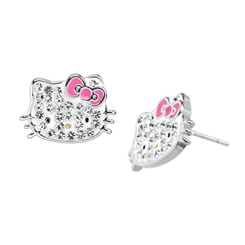 Hello Kitty Stud Earrings with Crystals in Sterling Silver-Plated Brass - Hello Kitty Pave