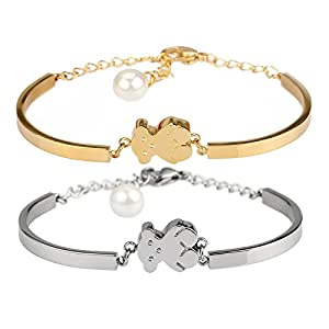 Richapex 18K Gold Plated Stainless Steel Teddy Bear Link Bracelet with Shell Pearl Pendant