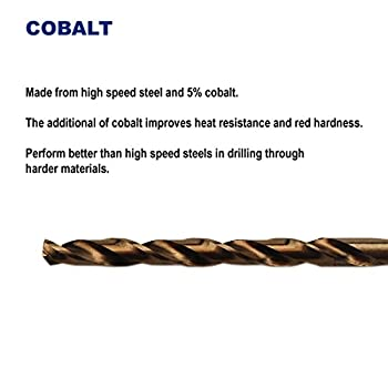 Pack of 12, 5/64-Inch Cobalt Steel M35 Drill Bit, Jobber Length, for Hard Metal, Stainless Steel