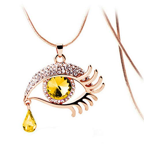 FEDULK Fashion Jewelry for Women Rhinestone Magic Eye Crystal Tear Drop Eyelashes Necklace Long Sweater Chain(B) (Victorian Heart Bracelet Style)