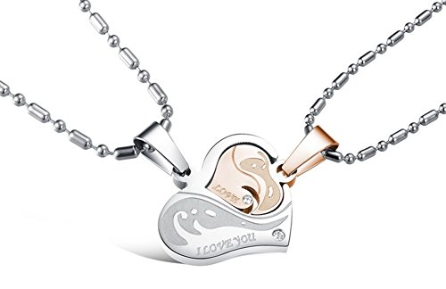 - MO SI YI His & Hers Matching Set Titanium Stainless Steel Couples Pendant Necklace (Embracing Hearts)