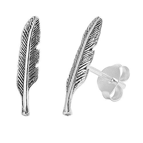 (Sterling Silver Feather Stud Earrings)
