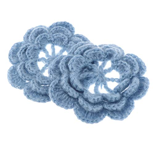 2Pcs Handmade Large Crochet Flower, Sew on, Patchwork, Applique 12cm | Color - Blue