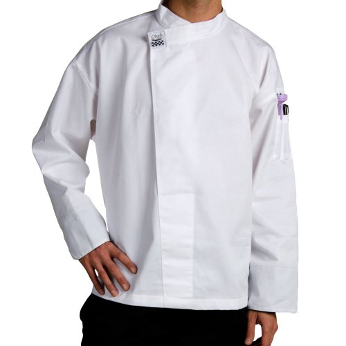 Chef Revival T001 Chef-Tex Poly Cotton Executive Long Sleeve Pullover Chef Tunic with Black ()