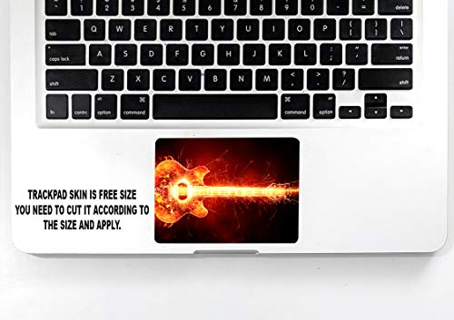 ISEE 360® Laptop Skin Cover Laminated Fire Guitar Stickers and Free Track pad Skin for Girls Boys Kids Students Office Vinyl Printed Multicolored Floral Small HD Quality Sticker 13 to 15.6 Inches
