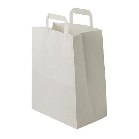 BIOZOYG bolsas papel blanco con Asa I bolsa papel respetuosa del medio ambiente hecha de papel Kraft I bolsa regalo biodegradable, bolsas compostable ...