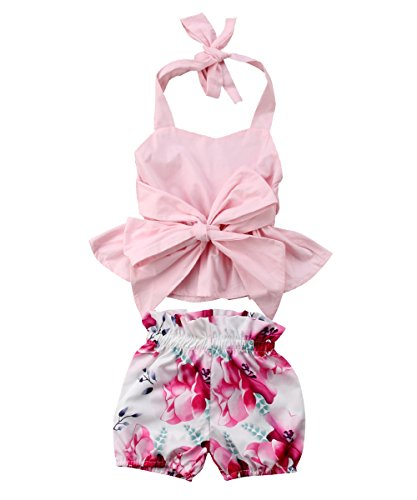 (Newborn Baby Outfits Set Pink Playsuit Crop Top + Floral Shorties Bloomers (Pink, 0-6)