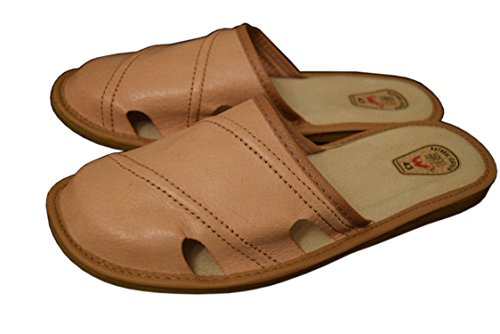 WJC Mens Natural Leather Slippers Mules Brown / 2 uhy8ER65f