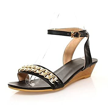 aa83b0b1164d5 Women Imitation Pearl Flat Leather Strap Back Sandals with Wedge Heel Women  Sandals (Various Colours