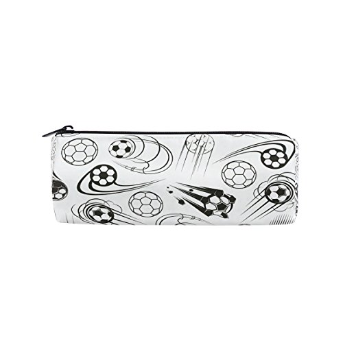 Students Pencil Case Black and White Football Soccer Pen Bag Zipper Pouch Purse for Boys Girls by AHOMY