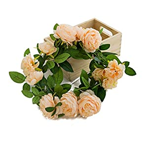Spring summer Simulation Peony/Rose Wreath 1.8M Door and Wall Wedding Decor Flowers (Champagne)