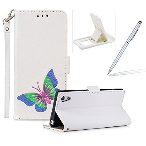 Price comparison product image Strap Leather Case for Sony Xperia XA1,White Wallet Flip Case for Sony Xperia XA1,Herzzer Classic Premuim Handmade Butterfly Pattern Shockproof Magnetic Stand PU Leather Case