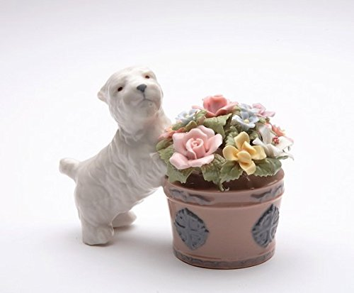 - Cosmos Gifts 80017 Fine Porcelain Westie Western Terrier Dog with Flowers Pot IC Musical Figurine (Tune: You are My Sunshine), 4-1/8