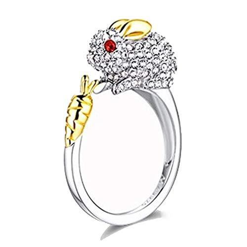 (Windoson Elegant 2019 Zodiac Tiger Crystal Open Rings Wedding Christmas Jewelry for Women Girls-It Can Be Adjustable (Rabbit))