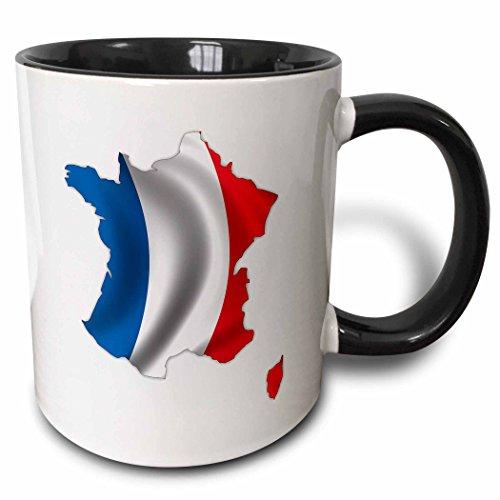 (3dRose 155071_4 Silhouette of France French Flag Banner Nation Country Mug 11 oz Black)