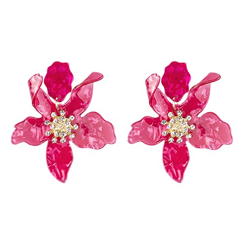 GuanLong Resin Acrylic Flower Earrings, Spring Fashion Big Earrings Jewelry (Spring Flower Dangle)