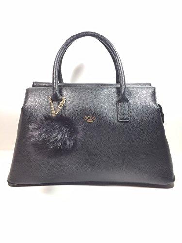 Bcbg Paris Black/Gold Satchel top zipper handbag with Black Pom charm (Bcbg Black Bag)
