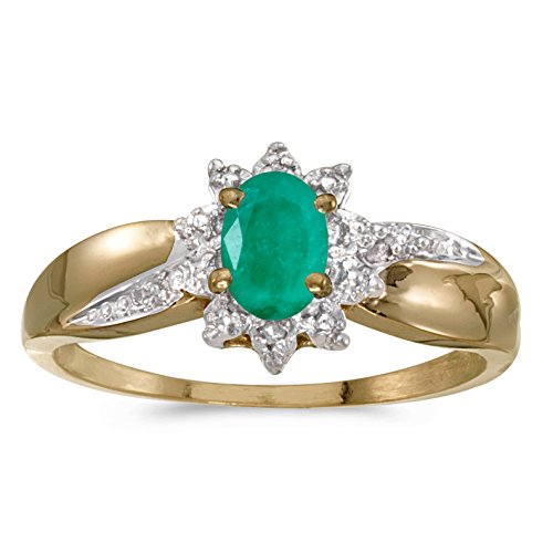 0.31 Carat (ctw) 10k Yellow Gold Oval Green Emerald and Diamond Solitaire & Halo Fashion Swirl Cocktail Ring (6 x 4 MM) - Size 7