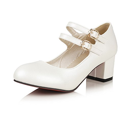 Chunky Shoes Pumps White Urethane Uppers Low Cut BalaMasa Buckle Heels Womens 7wxEqSzzf