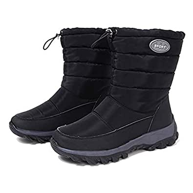SODIAL Women Winter Boots Non-Slip Waterproof Snow Boots Women Thick Plush Ankle Boots for -40 Degrees Black 37 Yards