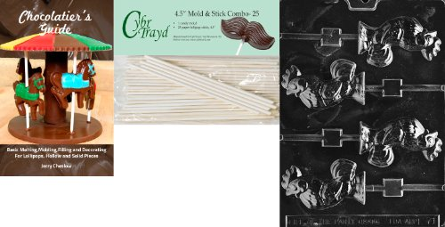 Cybrtrayd 'Rooster Lolly' Easter Chocolate Candy Mold with 25 4.5-Inch Lollipop Sticks and Chocolatier's Guide
