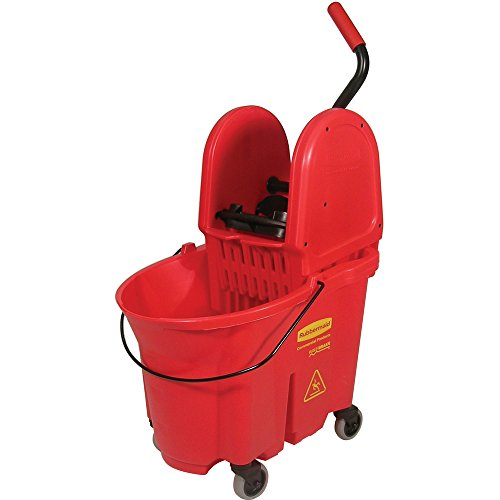 Quart Red Bucket - Rubbermaid Commercial WaveBrake 35 QT Down-Press Bucket and Wringer, Red, (FG757888RED)