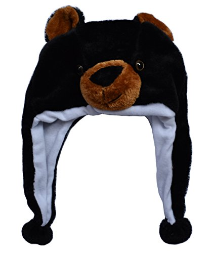 Joyhy Unisex Winter Plush Ear Flap Animal Hats Black Bear -