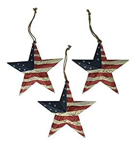 Country Americana Set of 3 American Flag Christmas Star Ornaments, USA Red, White, & Blue