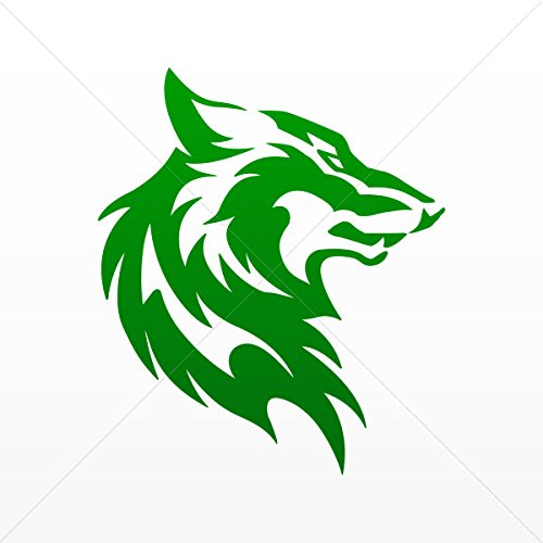 Decal Stickers Wolf Head Decoration Waterproof Racing Vehicl Green Dark (5 X 4.25 Inches)