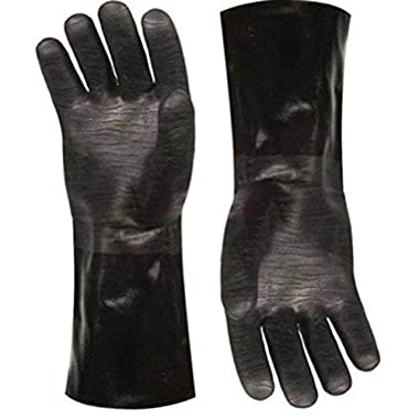 Best Insulated BBQ Pit Gloves * 14  Length for Outdoor Barbecue, Cooking and Frying! * Designed For the Pit Master To Use With Your Turkey Fryer, BBQ, Smoker & For All Your Cooking and Food Handling. Heavy Duty Heat Resistant TEXTURED Neoprene.
