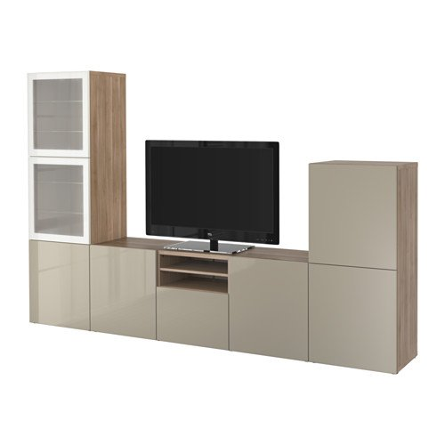 Ikea TV storage combination with push-open drawers and glass doors, walnut effect light gray, Selsviken high-gloss/beige frosted glass 2202.262020.3018