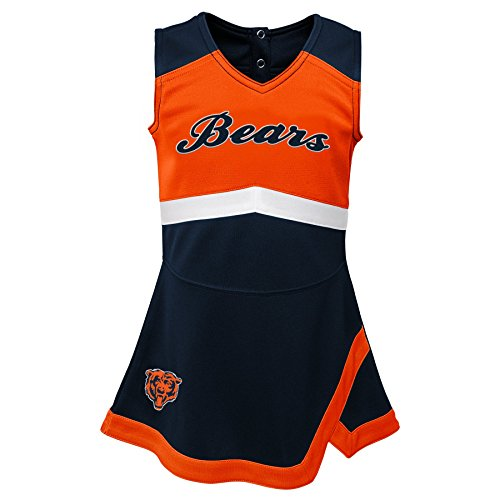 NFL by Outerstuff NFL Chicago Bears Kids & Youth Girls Cheer Captain Jumper Dress Deep Obsidian, Youth Medium(10-12)