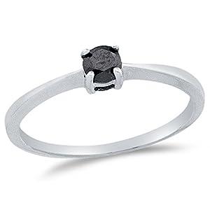 Size 4.5 - 10K White Gold Black Round Diamond Engagement Ring - Prong Set Solitaire Center Setting Shape (1/4 cttw.)